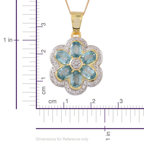Collectors Edition- Ratanakiri Blue Zircon (Ovl),  Natural Cambodian White Zircon Floral Pendant with Chain (Size 18) in Rhodium and 14K Gold Overlay Sterling Silver 4.750 Ct.