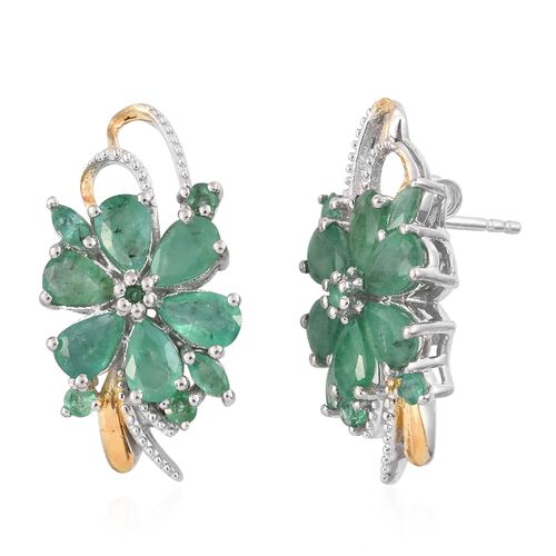 Kagem Zambian Emerald (Pear) Floral Stud Earrings (with Push Back) in Platinum and Yellow Gold Overlay Sterling Silver 5.250 Ct.