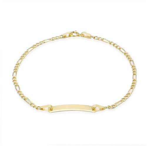 Close Out Deal 9K Yellow Gold Flat ID Figaro Bracelet (Size 7.5)