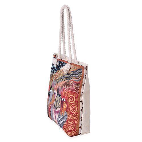 Designer Inspired-Orange, Grey and Multi Colour Horse Pattern Tote Bag (Size 44x39x33x9.5 Cm)