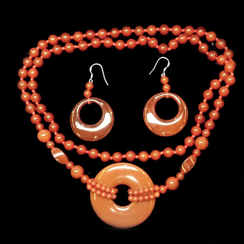 Red Agate Earrings and Necklace (Size 32) in Sterling Silver 420.000 Ct.