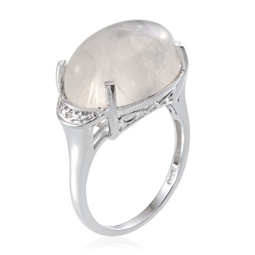 Ceylon Rainbow Moonstone (Ovl 13.25 Ct), Diamond Ring in Platinum Overlay Sterling Silver 13.260 Ct.