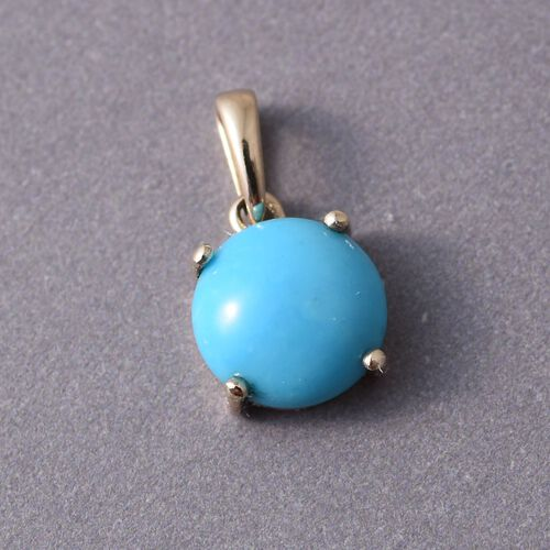 9K Y Gold Arizona Sleeping Beauty Turquoise (Rnd) Solitaire Pendant 2.000 Ct.