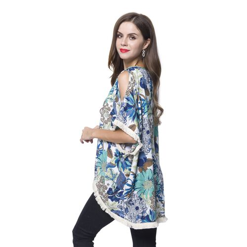 Blue, White and Multi Colour Flower Pattern Apparel with White Colour Tassels (Size 80x70x55 Cm)