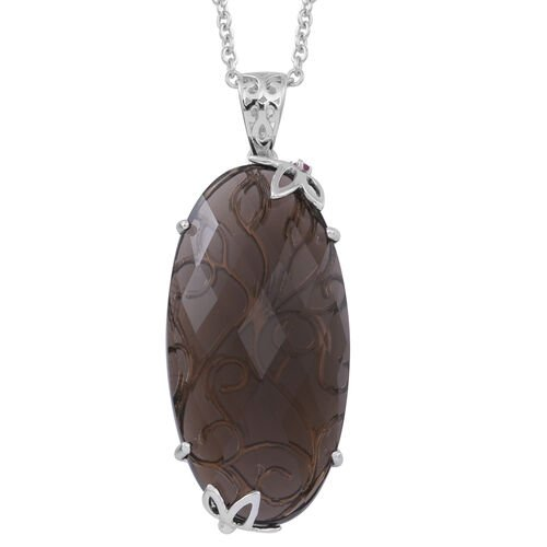 Brazilian Smoky Quartz (Ovl), Burmese Ruby Pendant With Chain in Rhodium Plated Sterling Silver 45.000 Ct.