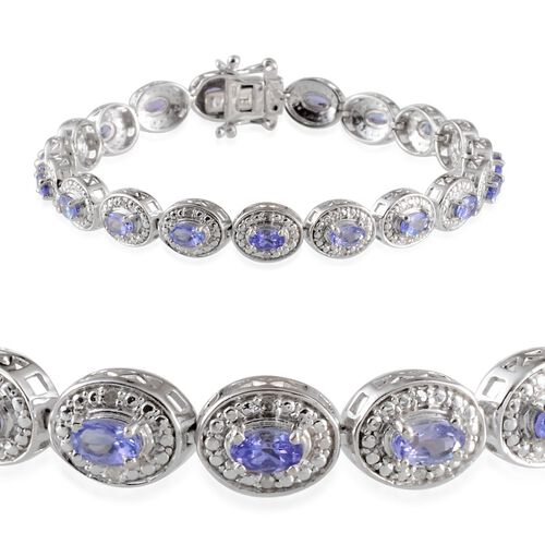 AA Tanzanite (Ovl), Diamond Bracelet in Platinum Overlay Sterling Silver (Size 7.5) 4.560 Ct.