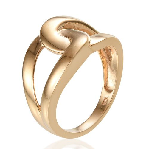 14K Gold Overlay Sterling Silver Interlocking Ring, Silver wt 4.20 Gms.