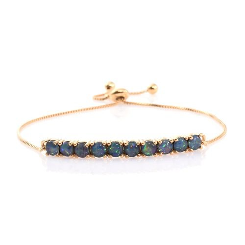 Australian Boulder Opal (Rnd) Adjustable Bracelet (Size 6.5 to 8) in Yellow Gold Overlay Sterling Silver 2.250 Ct.
