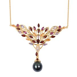 Tahitian Baroque Pearl (11.5-12 mm), Tanzanite and Multi Gemstone Necklace (Size 18) in Yellow Gold Overlay Sterling Silver 17.180 Ct, Silver wt 10.00 Gms.