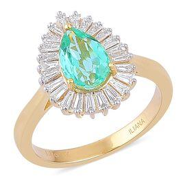 ILIANA 18K Yellow Gold 1.99 Ct AAA Boyaca Colombian Emerald Pear Halo Ring with Diamond SI G-H