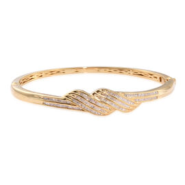 Designer Inspired Diamond Bangle (Size 7.5) in 14K Gold Overlay Sterling Silver 1.010 Ct. Silver wt 20.81 Gms.