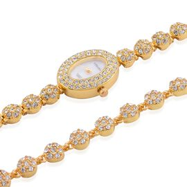STRADA Japanese Movement White Dial White Austrian Crystal Water Resistant Watch with White Austrian Crystal Bracelet (Size 8) in Gold Tone