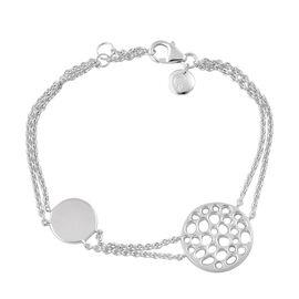 RACHEL GALLEY Rhodium Plated Sterling Silver Lattice Circle Bracelet (Size 8), Silver wt. 8.37 Gms.