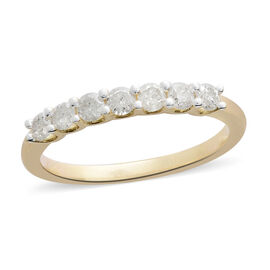 Mega Day Show Stopper Deal - 9K Yellow Gold SGL Certified Diamond (Rnd) (I3/G-H) 7 Stone Ring 0.500 Ct.