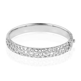 RACHEL GALLEY Rhodium Plated Sterling Silver Lattice Bangle  Silver wt 38.00 Gms Size 7.5 Inch.