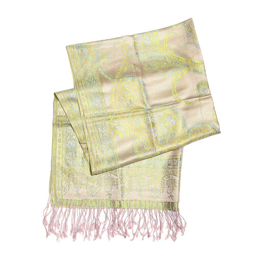 SILK MARK - 100% Superfine Silk Beige, Green and Multi Colour Flower, Leaves and Paisley Pattern Jacquard Jamawar Scarf with Tassels (Size 180x70 Cm) (Weight 125 - 140 Gms)