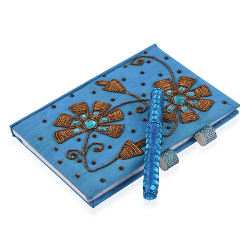 Hand Crafted Embellished Zari Work Turquoise and Brown Notebook and Pen Set (Size 17.78X12.70 Cm)
