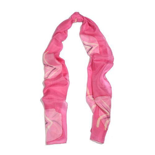 100% Silk Abstract Pattern Pink and Multi Colour Scarf (Size 180x50 Cm)