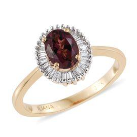 ILIANA 18K Yellow Gold AAA Pink Tourmaline (Ovl 0.83 Ct) Diamond (SI-GH) Halo Ring 1.000 Ct.