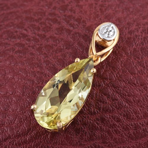 Brazilian Green Gold Quartz (Pear) Solitaire Pendant in 14K Yellow Gold Overlay Sterling Silver 4.000 Ct.