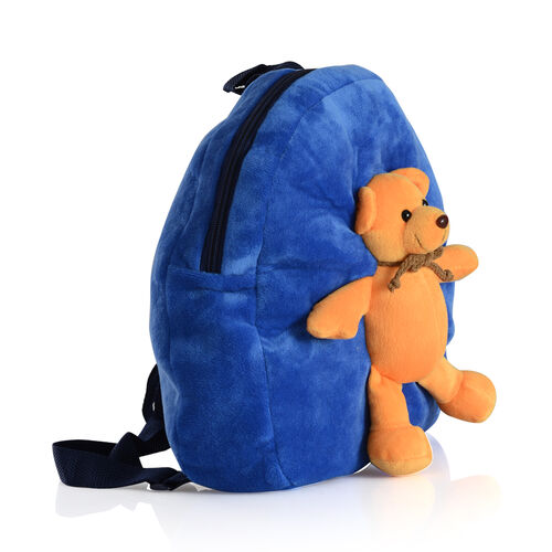 Blue Colour School Bag With Blue Colour Teddy Bear On it Kids Backpack (Size 32x28 Cm)