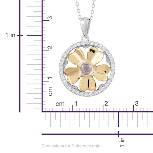 ELANZA AAA Simulated White Diamond Spinning Flower Pendant with Chain in Platinum and Yellow Gold Overlay Sterling Silver, Silver wt 4.60 Gms.