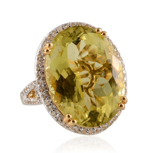 Brazilian Green Gold Quartz (Ovl 37.00 Ct), White Topaz Ring in 14K Gold Overlay Sterling Silver 38.250 Ct.