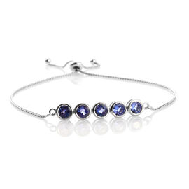 9K White Gold 2.50 Ct AA Tanzanite 5 Stone Bolo Bracelet (Size 6.5 to 8.5)