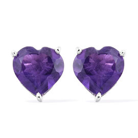 Amethyst 2 Ct Heart Silver Stud Earrings (with Push Back) in Platinum Overlay