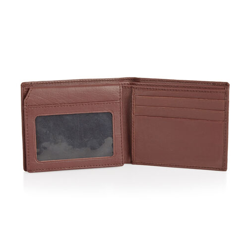 Genuine Leather Burgundy Colour RFID Bi-Fold Men Wallet with Card Holder (Size 11x9 Cm)