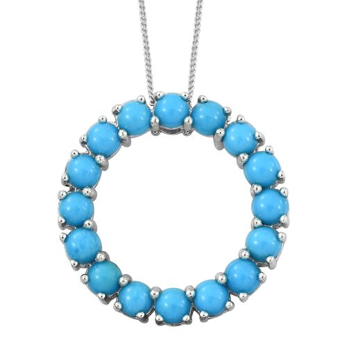 Arizona Sleeping Beauty Turquoise (Rnd) Circle of Life Pendant with Chain in Platinum Overlay Sterling Silver 3.500 Ct.