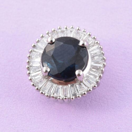RHAPSODY 950 Platinum AAAA Monte Belo Indicolite (Rnd 0.75 Ct), Diamond (VS/E-F) Pendant 1.000 Ct.
