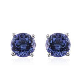 14K W Gold AA Tanzanite (Rnd) Stud Earrings (with Push Back) 1.750 Ct.