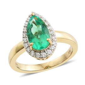 ILIANA 18K Yellow Gold 2.55 Ct AAAA Boyaca Colombian Emerald and Diamond SI G-H Ring