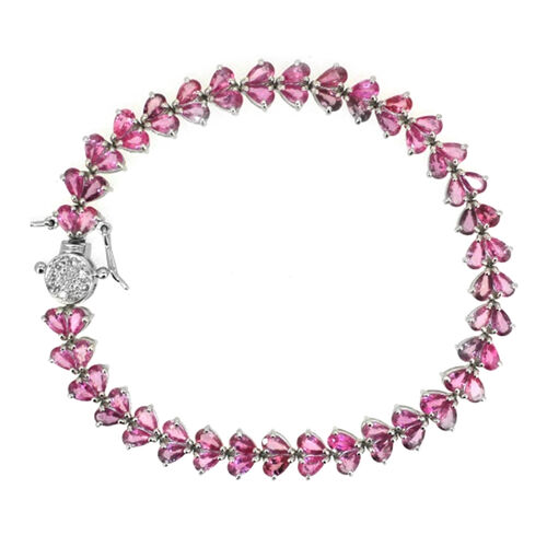 AA Pink Sapphire (Pear), White Sapphire Bracelet in Rhodium Plated Sterling Silver (Size 7) 14.000 Ct.