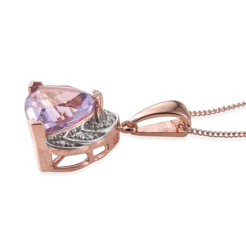 Rose De France Amethyst (Trl 3.00 Ct), Diamond Pendant With Chain in Rose Gold Overlay Sterling Silver 3.010 Ct.