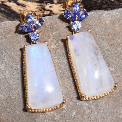 Sri Lankan Moonstone and Tanzanite Earrings (with Push Back) in 14K Gold Overlay Sterling Silver 42.000 Ct.