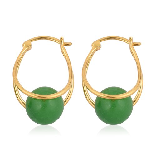 Super Auction - Green Jade (Rnd 10 mm) Hoop Earrings (with Clasp) in Yellow Gold Overlay Sterling Silver 17.000 Ct.