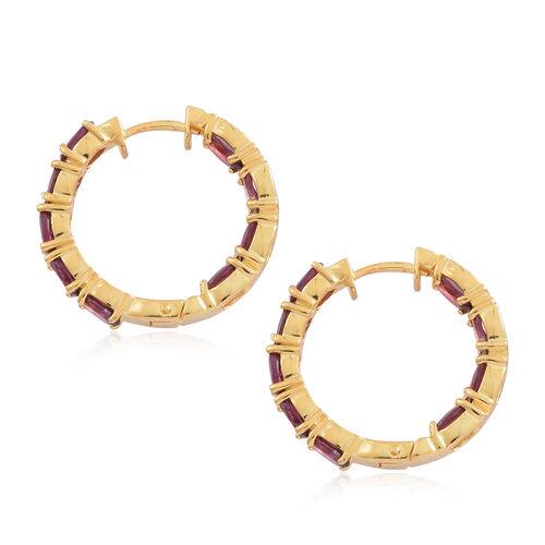Rhodolite Garnet (Ovl) Hoop Earrings (with Clasp Lock) in 14K Gold Overlay Sterling Silver 10.000 Ct. Silver wt 9.20 Gms.