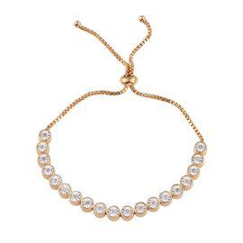 Diamond (Rnd) Adjustable Bracelet (Size 6.5 to 8) in 14K Gold Overlay Sterling Silver 0.250 Ct.