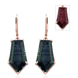 Alexandria Quartz Lever Back Earrings in Rose Gold Overlay Sterling Silver 20.000 Ct.