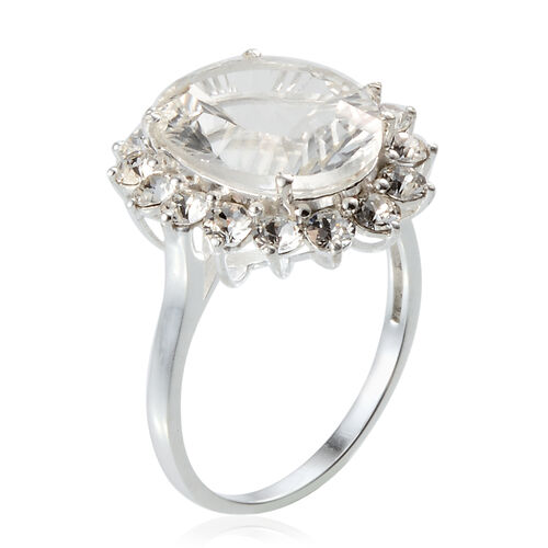 AAA White Austrian Crystal (Ovl) Ring in Sterling Silver. Silver wt. 3.23 Gms.