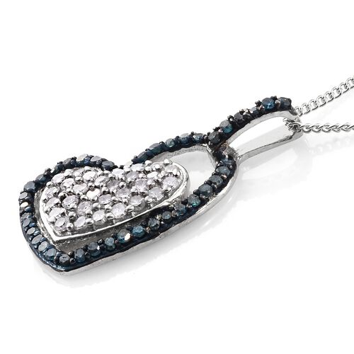 White Diamond (Rnd), Blue Diamond Heart Pendant With Chain in Platinum Overlay Sterling Silver 0.500 Ct.