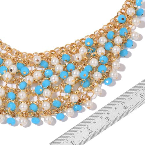 Simulated Turquoise and Simulated Pearl Necklace (Size 20 with 2.5 inch Extender) in Yellow Gold Tone