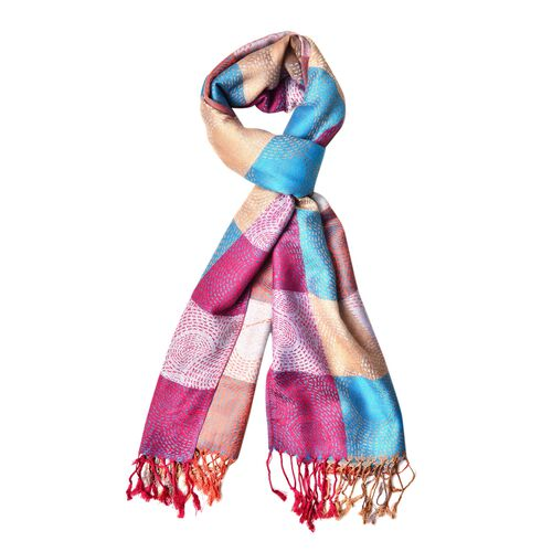 Designer Inspired - Blue, Wine Red and Multi Colour Checker Pattern Scarf with Tassels (Size 185X70 Cm)
