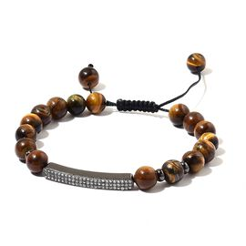 Tigers Eye Beads and White Austrian Crystal Adjustable Bracelet (Size 6 to 9) in Black Tone 84.500 Ct.