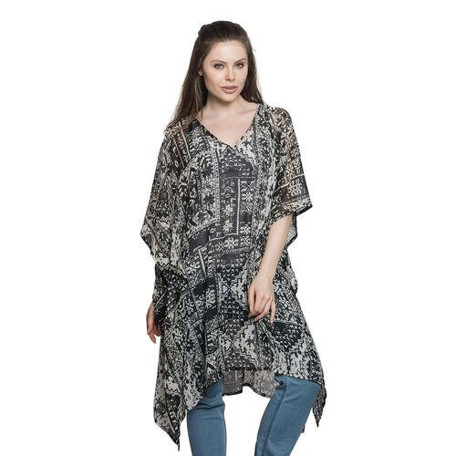 Ornamental Pattern Black and White Colour V-Neck Kaftan (Free Size)