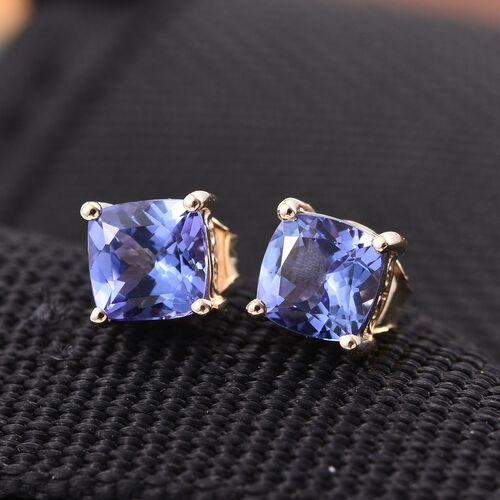 9K Yellow Gold 1.60 Carat Tanzanite Cushion Solitaire Stud Earrings with Push Back.
