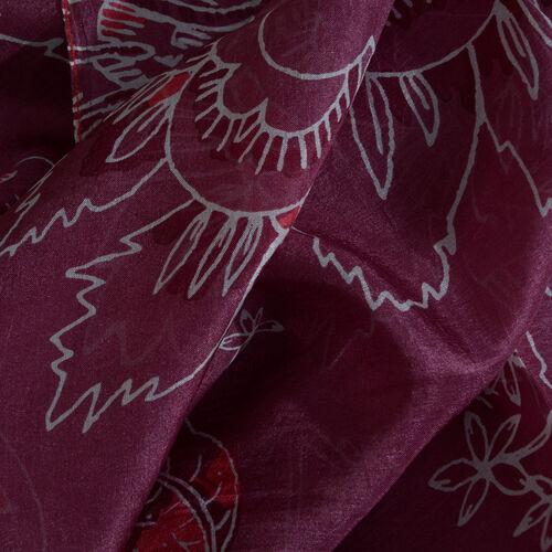 100% Mulberry Silk Violet Colour Floral Pattern Scarf (Size 180x100 Cm)