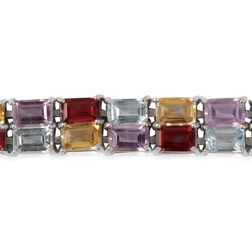 Amethyst (Oct), Citrine, Indian Garnet and Sky Blue Topaz Bracelet in Sterling Silver (Size 7.5) 32.430 Ct.
